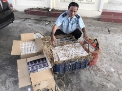 Dong Thap Customs seizes smuggled cigarettes hidden inside straw