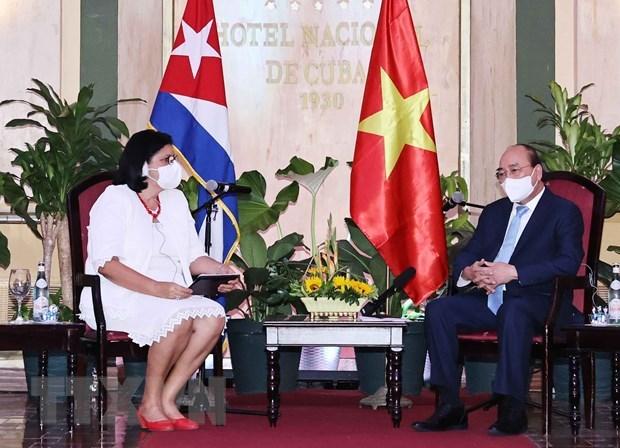 President receives leaders of Cuba – Vietnam friendship organisations hinh anh 1