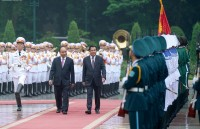 Welcoming ceremony for Cambodian PM in Hanoi