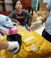 Seizing 7 kg meth from inside luggage of passenger coming from Cambodia to Vietnam