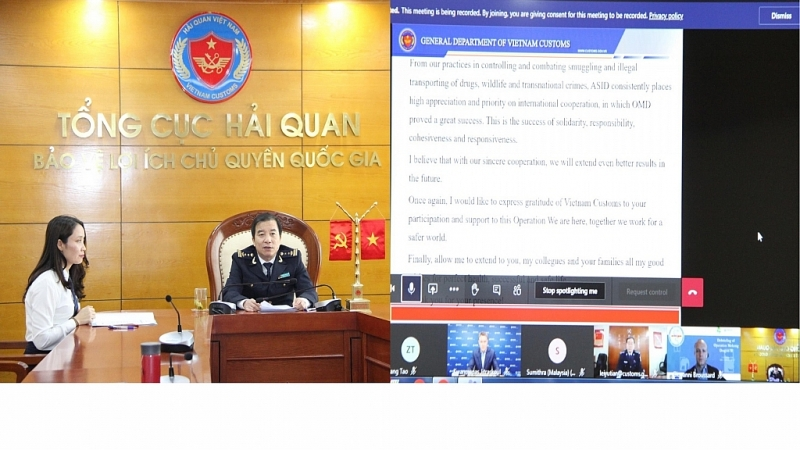 Leaders of the Anti-Smuggling and Investigation Department participated in the online conference summarizing the Mekong Dragon Campaign phase 2 (November, 2020) at the connection point of Vietnam Customs headquarters. Photo: T.Bình.